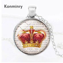 Konminry Classic Crown Dictionary Background Necklace Silver Bronze Black Plated Vintage Royal Style Glass Pendant Jewelry(China)