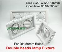 360 Rotable Three Heads Grille Light Fixture Assembly For GU10 MR16 GU5 3 Spot Halogen Bulb