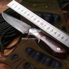 WTT Damascus Straight Fixed Knife Handmade Forged Steel Coco Wood Handle Hunting Survival Knives Gift Collection Utility Tools