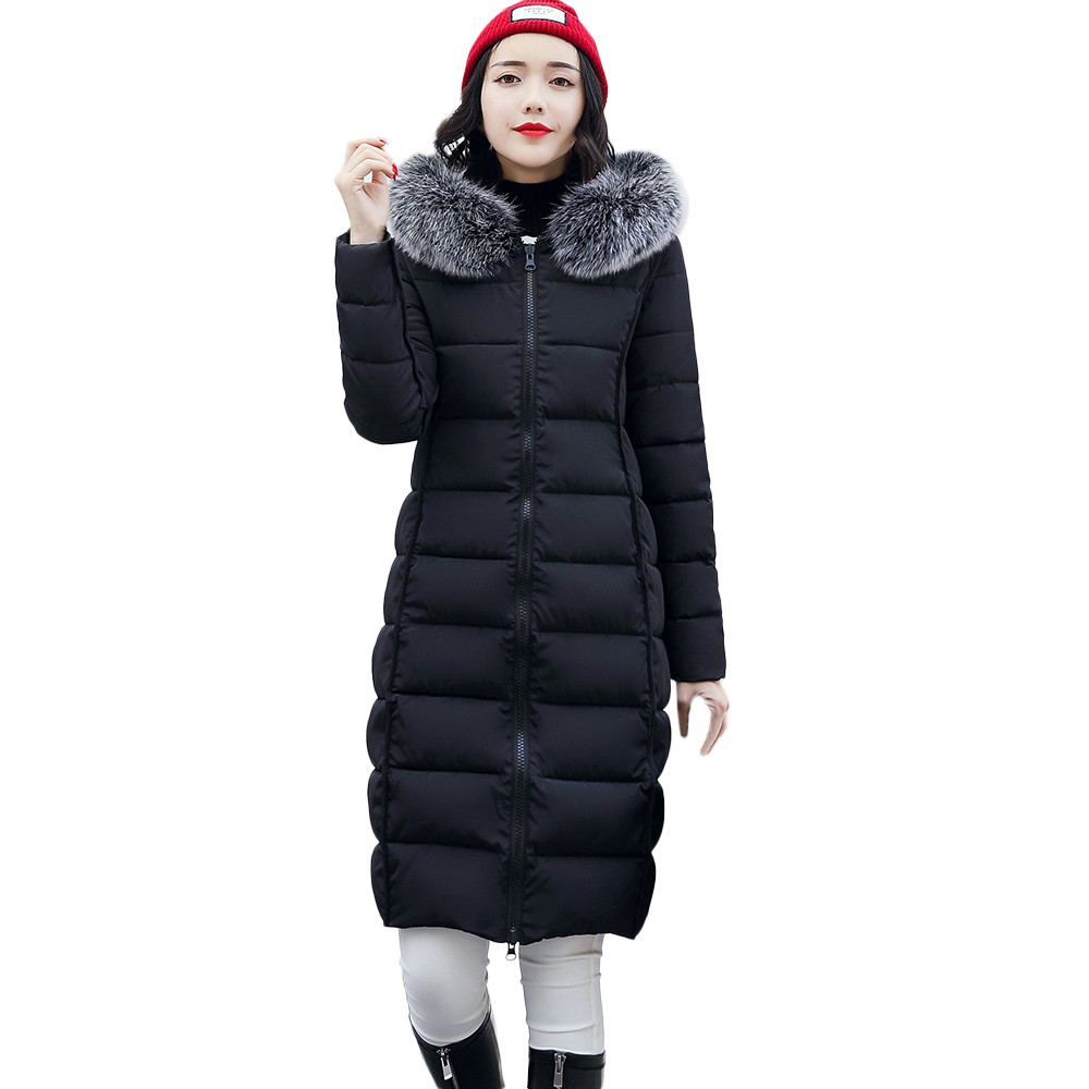 women winter jackets 2019   Parka   women Fur Collar Plus size Jackets Long   Parkas   winter coat women abrigos mujer invierno 85JM