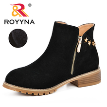 ROYYNA New Classics Style Ankle Boots Ladies Fashion Women Low Trim Round Toe Synthetic Leather Casual Shoes Female