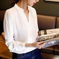 2017 Новое Прибытие Женщины Шифон Блузка Элегантный V-образным Вырезом Повседневная Блузки С Длинным Рукавом ПР Офис Рубашка Blusa Femininas Плюс Размер Q5653