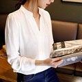 2017 New Arrival Mulheres Chiffon Blusa Com Decote Em V Elegante Casual Blusas Manga Comprida OL Escritório Camisa Blusa Femininas Plus Size Q5653