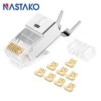 NASTAKO 50 100pcs Cat7 RJ45 Connector Cat 7 Crystal Plugs Shielded FTP RJ45 Modular Connectors 1