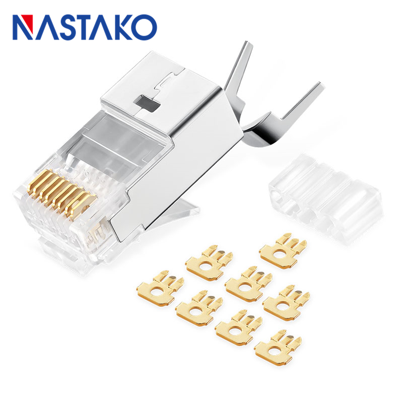 NASTAKO 50/100pcs Cat7 RJ45 Connector Cat 7 Crystal Plugs Shielded FTP RJ45 Modular Connectors 1.5mm Network Ethernet Cable