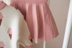 Image 5 - Bebê outono inverno meninas conjunto de roupas crianças algodão 2 pçs panos crianças roupas camisa + saia camisola terno para meninas traje 5 t