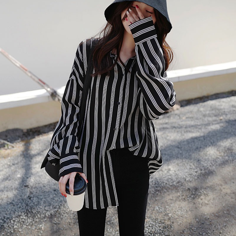 Black White Striped   Blouse   Womens Tops And   Blouses   Long Sleeves Women Blusas Mujer De Moda Autumn V Neck   Blouse     Shirt   H9