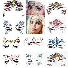 Temporária strass glitter tatuagem adesivos rosto jóias gemas festival de música festa maquiagem jóias corpo flash rosto cristal adesivo
