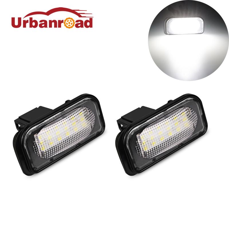 Fishberg 2PCS 18SMD 2835 led number plate lamp for benz White led license plate light no error for mercedes benz W203 2001-2007 cawanerl car canbus led package kit 2835 smd white interior dome map cargo license plate light for audi tt tts 8j 2007 2012