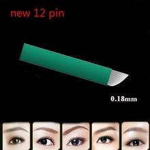 Neue 0,18mm Durchmesser 12 Pin Microblading Nadeln Klingen Lamina Agulha Sobrancelha Tebori Microblading 12 Pontas Flex Stirn Tattoo