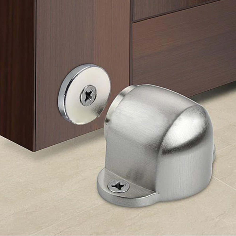 Stainless Steel Strong Magnetic Door Stopper Suction Gate Supporting Hardware Powerful Mini Door Stop with Catch Screw Mount stainless steel gate chamber door magnetic resistance wall suction super