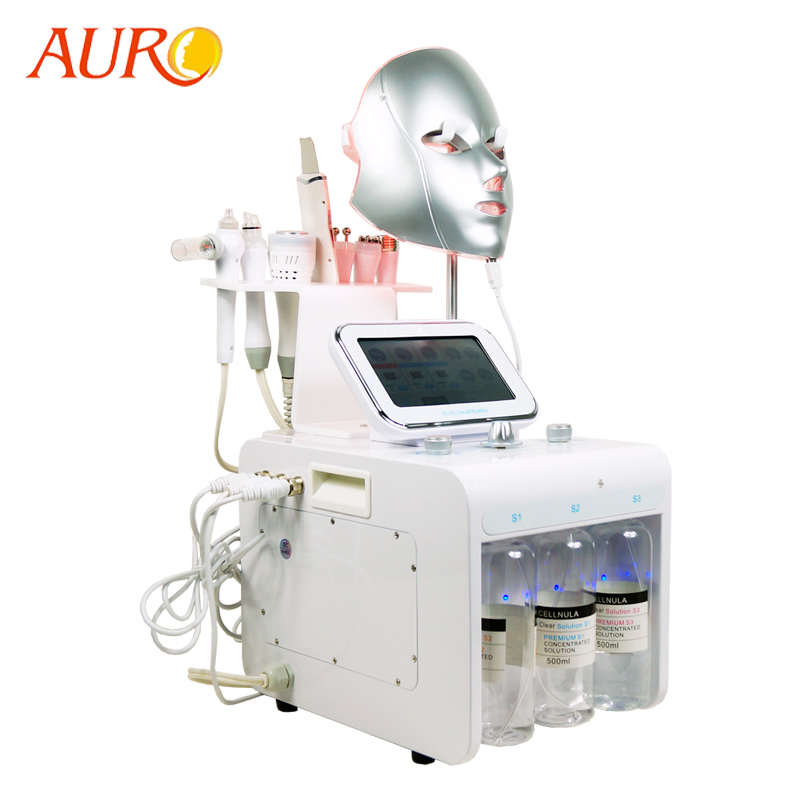 2019 New Product AURO 8 In 1 Skin Scrubber RF Equipment With Oxygen Jet Peeling Water Microdermabrasion Facial Machine For Spa