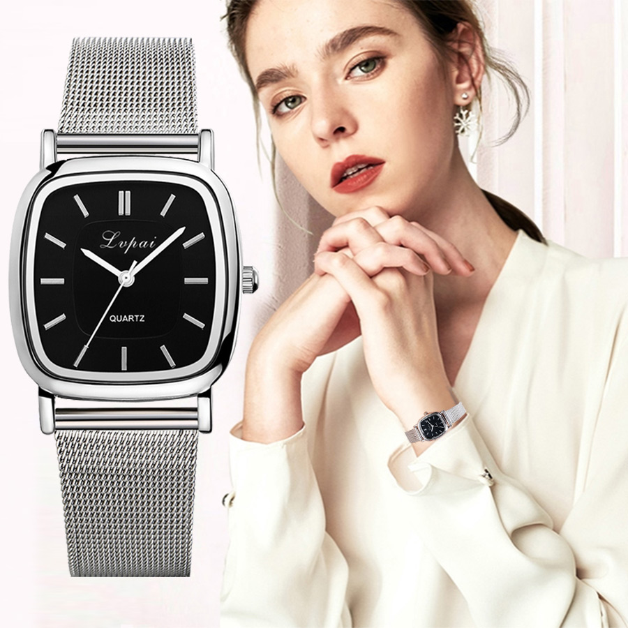 Lvpai Luxury Fashion Watches Women Stainless Steel Black Square Dial Casual Bracelet Quartz Wrist Watches Gifts Montre Femme