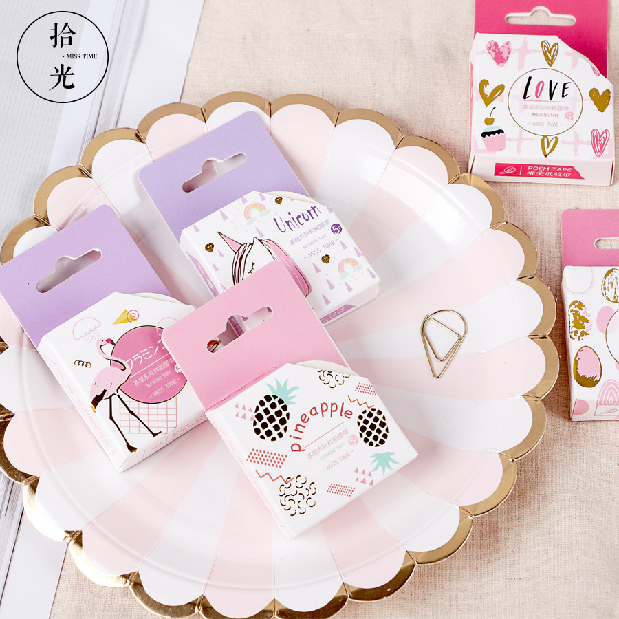 Cartoon Unicorn Washi Tape Kawaii Scrapbooking Masking Tape Adhesive Tape Japanese Stationery Diy Decorative Tapes 1.5cm*5m