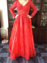 Elegent Langen Ärmeln Oansatz Applqiues Sicke Kristall Spitze Satin Glam Formale Kleid Ballkleid Drapiert Abendkleid