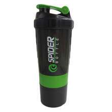 Hot sales! New Spider protein shaker 3 in 1 Sports water bottle with inserted mixing ball 4 Color 500ml