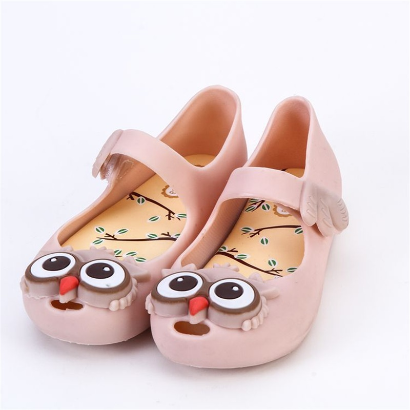 2018 Mini Melissa Owl Jelly Sandals Girls Shoes Children Soft bottom Shoes Princess Shoes Cartoon Savory Sandals Melissa Shoes