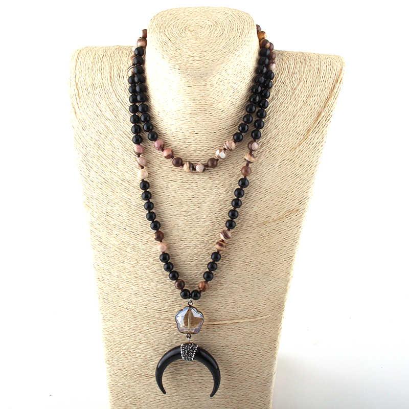 Moda 108 cuentas Mala piedra negra anudada ciruela flor cristal enlace Luna Negra colgante collar mujeres Yoga collar