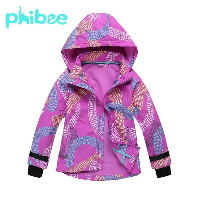 Ветровка для девочек Phibee, Спортивная ветрозащитная мягкая куртка в виде ракушки, непромокаемая повседневная одежда для детей