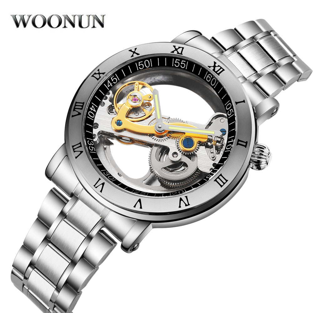 WOONUN Luxury Brand Mechanical Watches Men Transparent Hollow Dial Tourbillon Automatic Mechanical Watch Waterproof holuns original luxury automatic mechanical watch golden big dial sapphire mirror hollow watch men casual retro leather watches