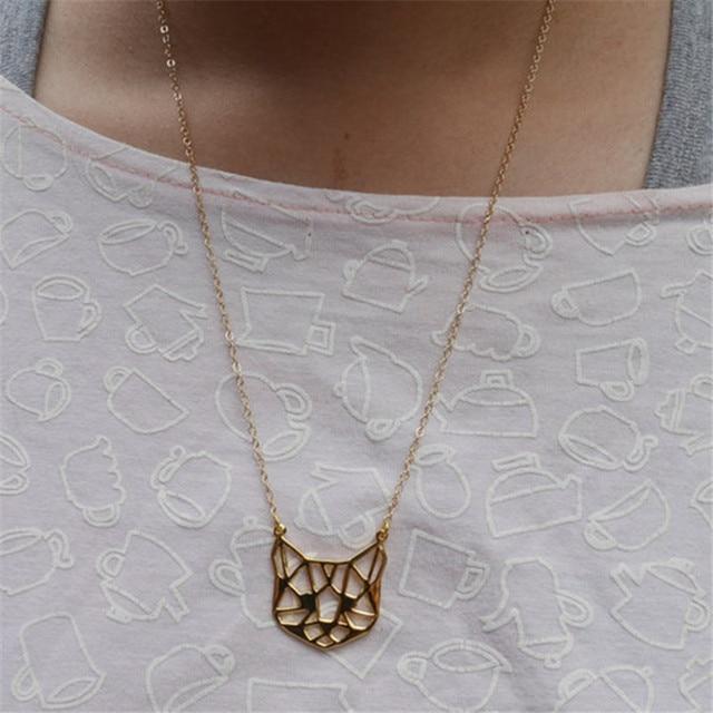 Fashion Origami Cat Face Necklace Outline Cat Face Necklaces 2
