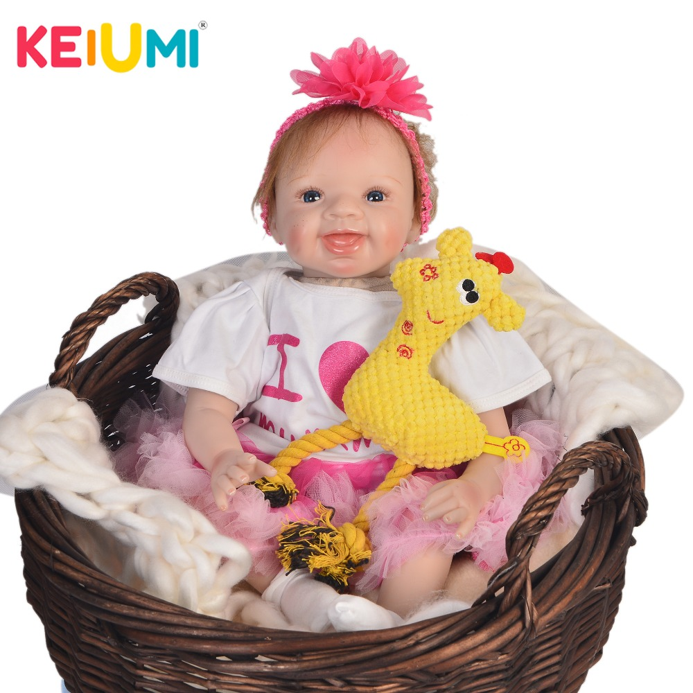 KEIUMI Hot Sale 22 Inch Newborn Baby Doll Cloth Body Realistic Lovely Baby Doll Toy For Children's Day Kid Birthday Xmas Gifts keiumi real 22 inch newborn baby doll cloth body realistic lovely baby doll toy for children s day kid christmas xmas gifts