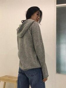 Image 2 - カシミヤニットジャンパー女性セーターフード付き 2 色韓国風ホット販売ファッションプルオーバー女性ウールニット服トップス