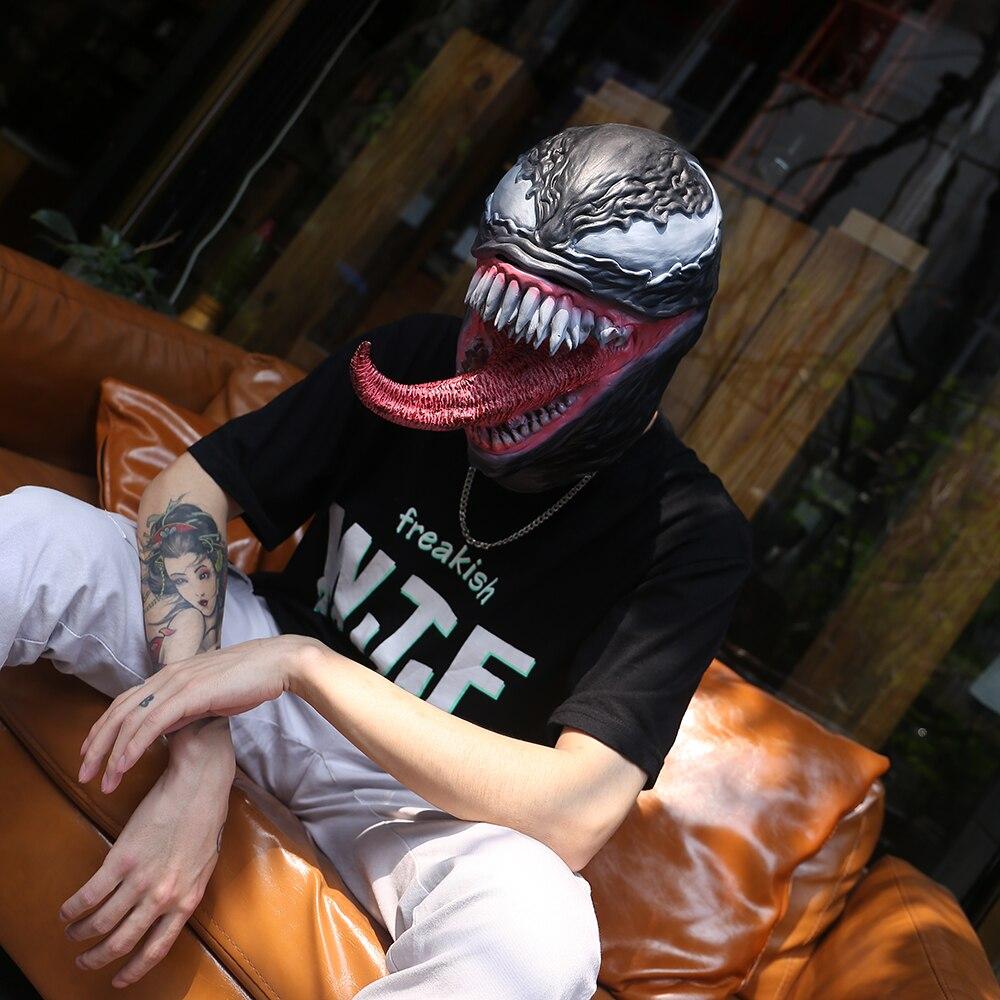 The Venom Mask With Long Tongue Cosplay Props Spiderman Edward Brock Dark Cosplay Superhero Venom Latex Horror Mask Halloween