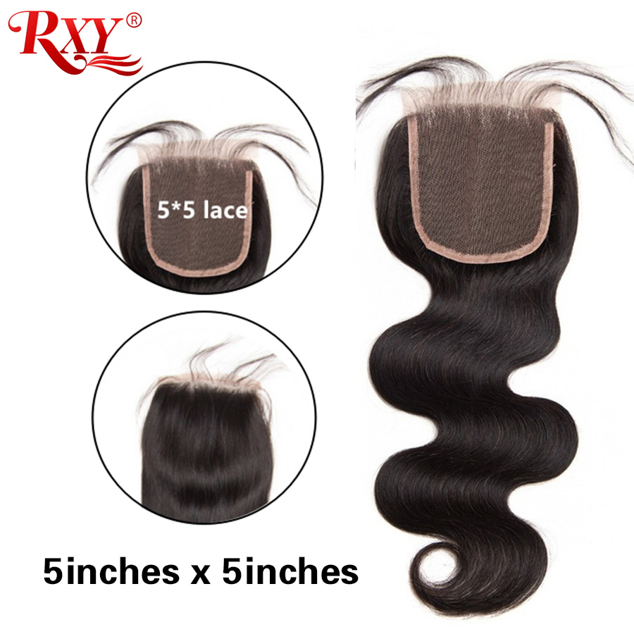 5x5 Lace Closure Brazilian Hair Body Wave RXY Remy Human Hair Closure Swiss Lace Closure 8''-20'' Pre Plucked With Baby Hair
