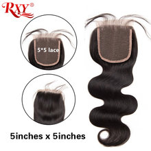 5x5 Lace Closure Brazilian Hair Body Wave RXY Remy Human Hair Closure Swiss Lace Closure 8''-20'' Pre Plucked With Baby Hair(China)