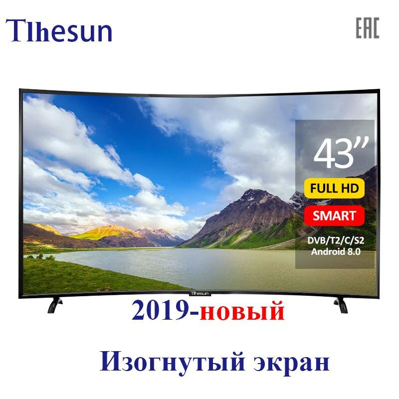 TV 43 pouces Tlhesun-u430sf téléviseur LED intelligent incurvé TV 43 49 TV télévision numérique Android 8.0 full HD dvb-t2 UHD téléviseurs smart + tv
