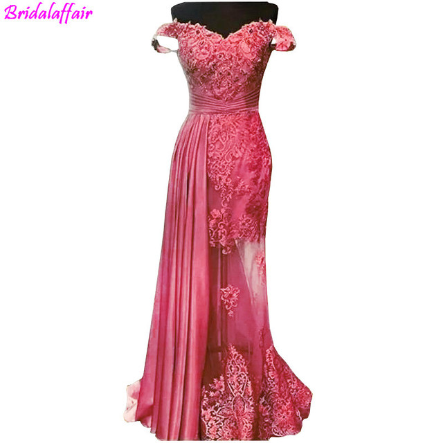 Gold Lace Evening Dresses With Sparkle Crystal Sexy Illusion Long Evening Gowns Off Shoulder Party Dresses robe de soiree longue 1