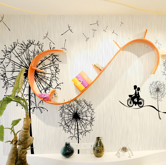Large custom mural children's cartoon abstract romantic bike wall stickers non woven fabric wallpaper tv background wall paper