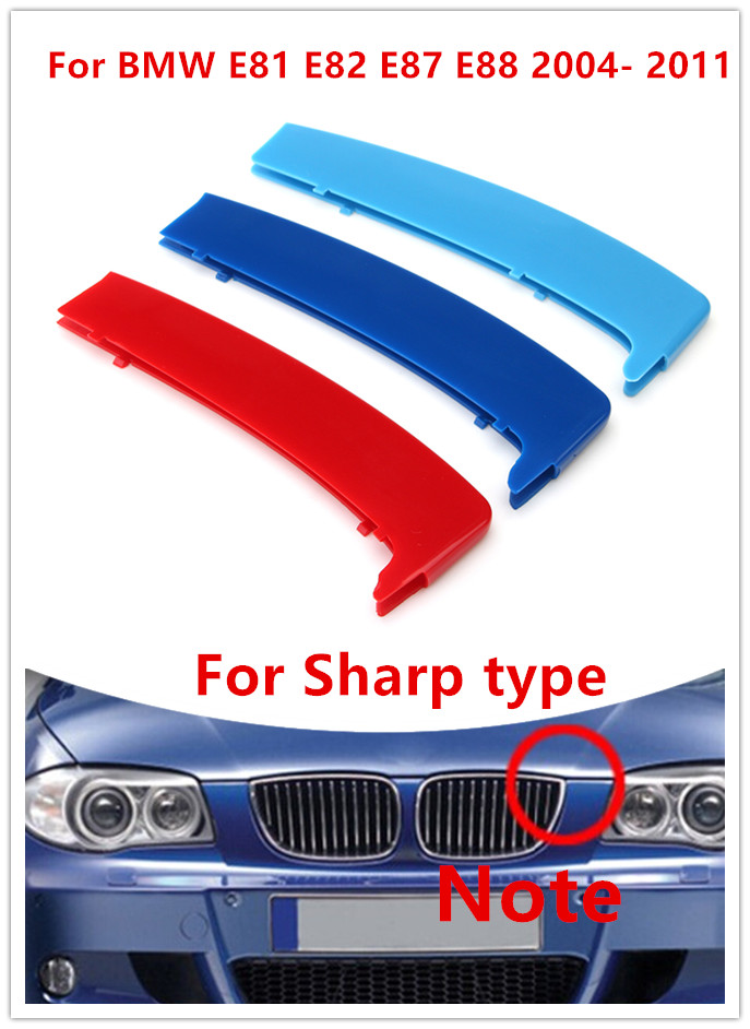 12 Grilles Sharp Angle Froggen For BMW 1 Series E81 E82 E87 E88 2004-2011 M Front Grille Grill Cover Insert Trim Clips 3 Color