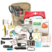 Dorp shipping 21 in 1 survival kit Set Outdoor Camping Travel Multifunction First aid SOS EDC Emergency Supplies  for Wilderness wilderness first aid equipment case