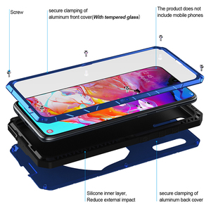 Image 2 - Telefoon Geval Voor Samsung Galaxy A70 Hard Aluminium Metal Gehard Glas Screen Protector Cover Zware Bescherming Silicon Cover