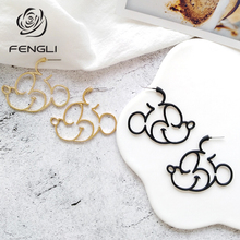 FENGLI Cute Mickey Women Stud Earring Donald Duck Mouse Animal Earrings Cartoon Baby Birthday Statement Jewelry Hot Sale