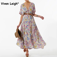 Viven Leigh Boho Floral Print Long Dress Retro Bohemian Maxi Dress Sexy Ethnic Deep V Neck