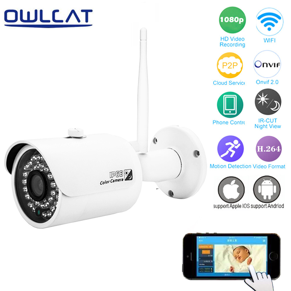 OwlCat HI3516C Full HD 1080P Wireless IP Camera Wifi CMOS Night Vision H264 IR-Cut Home Secuirty Camera Motion Detection Onvif wireless ip camera hd 180 degree panoramic home security camera 720p baby monitor night vision wi fi camera remote control