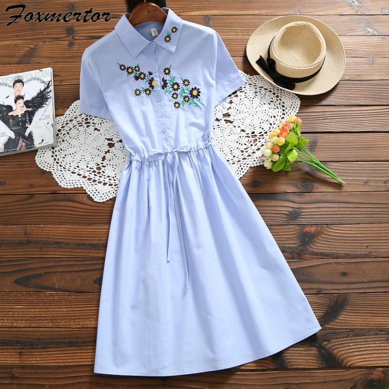 a184e92653e1 Detail Feedback Questions about Embroidery Dress Short Sleeve Women Summer  Shirt Dress Sweet Cute Style Female Clothing Elegant A Line Dresses Linen  E141 on ...