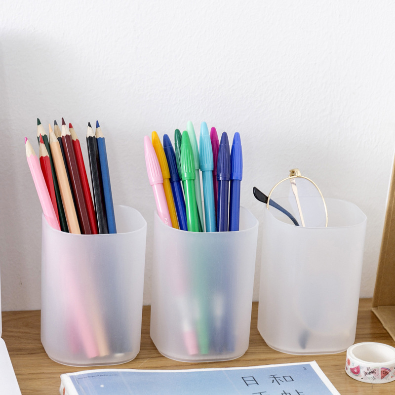 Simple Transparent Frosted Round Pen Holder Creative Student Desktop Finishing Storage Box Makeup Brush Tube Office Storage Tube
