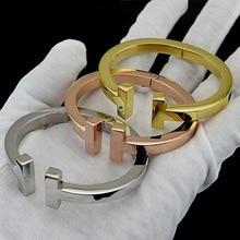 Перфекционистов Мода jewelrystainless Сталь цвета розового золота двойной T браслет и браслет манжеты из бисера открытие Серебряный Браслет любви для женщин Подарки