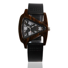 Unisex Charm Glass Black Wood Watches For Women Triangle Wri