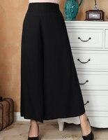 Sexy Czarny Chiński Kobiety Klasyczne Szerokie Nogawki Spodnie Bawełniane Elastyczne Talii Spodnie Na Co Dzień Długie Spodnie Rozmiar M L XL XXL 2369-5