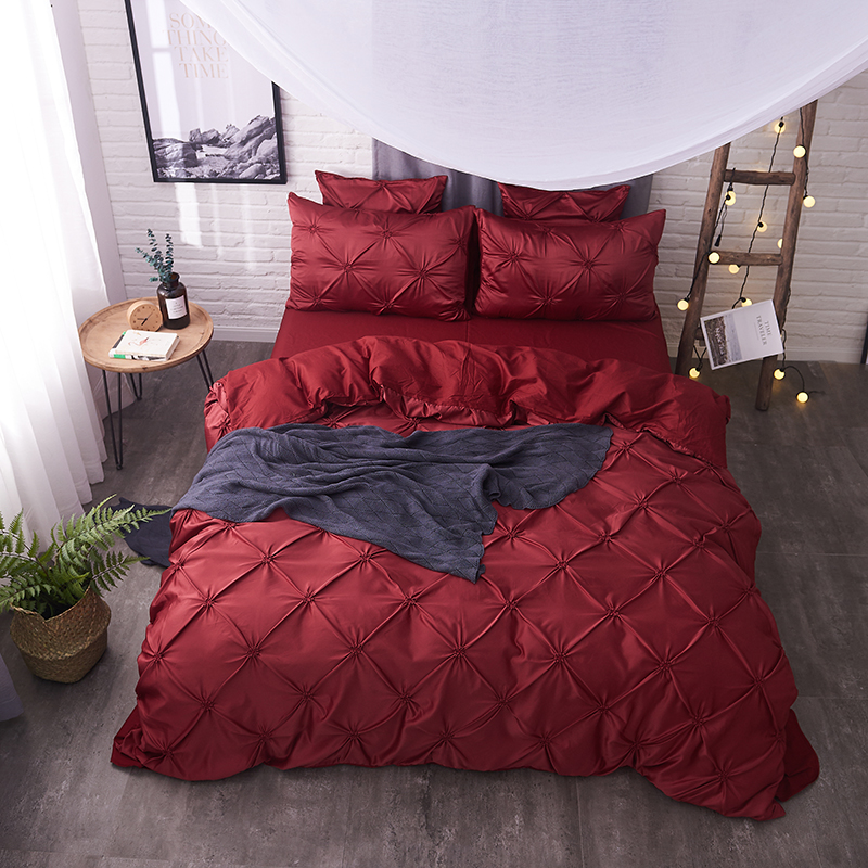 Cotton Imitate Silk Pleated Luxury Bedding Set Red Blue Green Bedclothes 4/6pc Queen King Size Duvet Cover Sheet Bed Linen Set