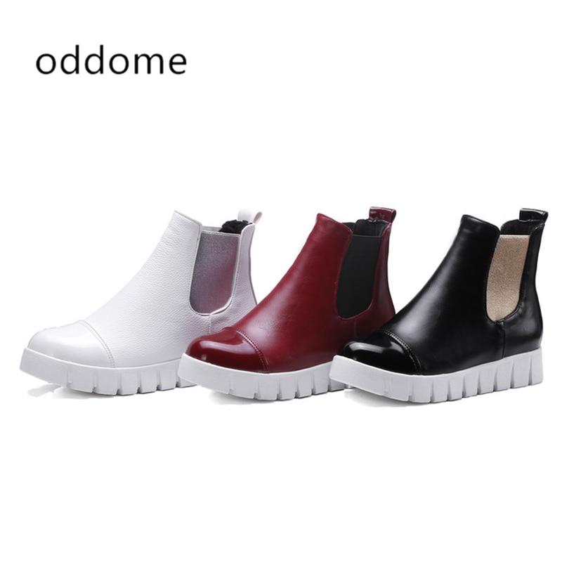Designer Designer Womens Ankle Boots Flat Womens Punk Boots Plus Fleece Boots Brogue Cut outs Black White Red XL 32-43