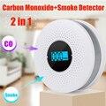 最新 2 で 1 LED デジタルガス煙警報 Co 一酸化炭素検出器音声警告センサーホームセキュリティ保護高敏感