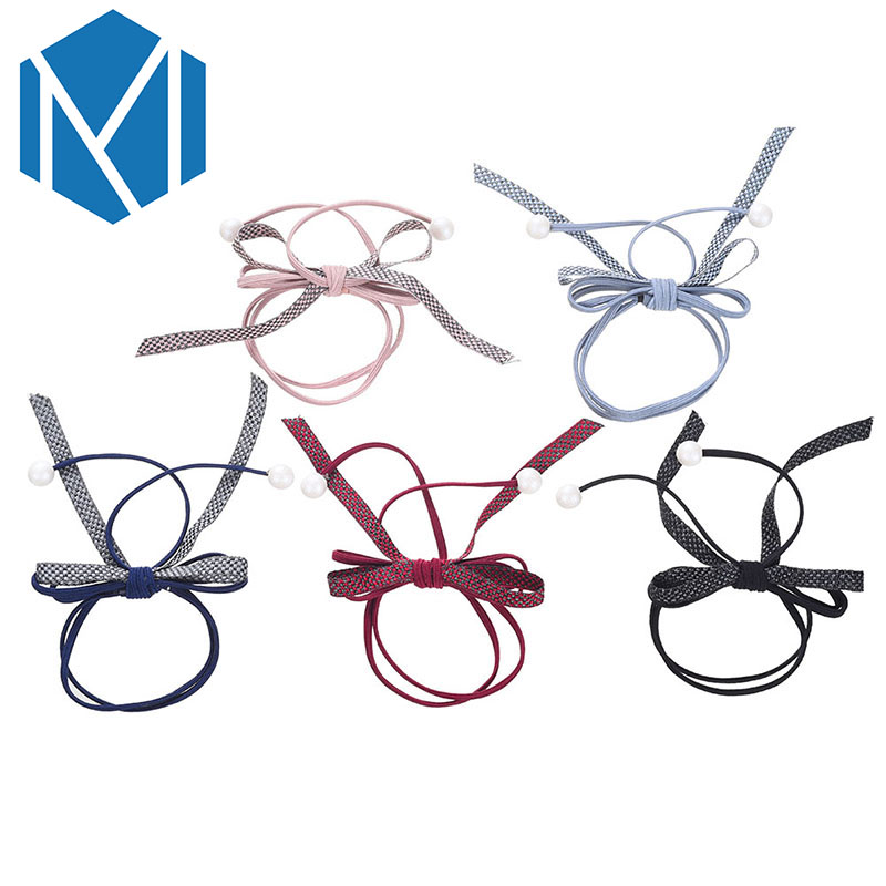 M MISM 1PCS Fashion Bead Bow Knot Scrunchy For Women Girls Hair Accessories Ties Rubber Band Gum For Elastic Hair Band