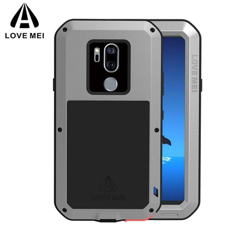 Amour Mei Antichoc En Aluminium En Métal Plein Armure Cas Pour LG G7 G 7 Heavy Duty Téléphone Shell + Gorilla Glass
