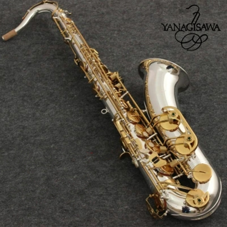 New Tenor Saxophone yanagisawa T-9930 Musical Instruments Bb Tone Nickel Silver Plated Tube Gold Key Sax With Case Mouthpiece silver nickel plated double french horn f bb 4 keys with case